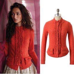 Anthropologie Orange Moth Sweater Cardigan